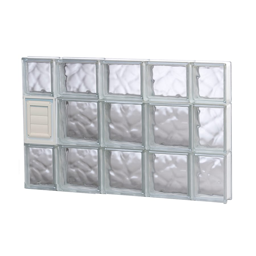 REDI2SET Wavy Pattern Frameless Replacement Glass Block Window (Rough Opening: 36-in x 22-in; Actual: 34.75-in x 21.25-in)