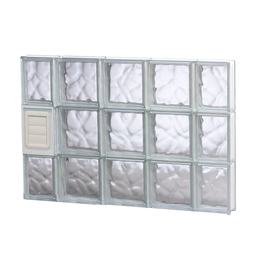 REDI2SET Wavy Glass Pattern Frameless Replacement Glass Block Window (Rough Opening: 36-in x 24-in; Actual: 34.75-in x 23.25-in)