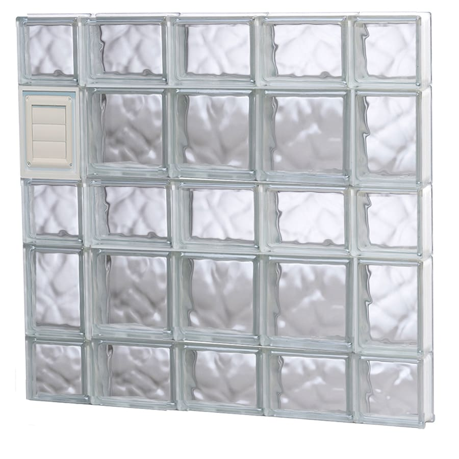 REDI2SET Wavy Glass Pattern Frameless Replacement Glass Block Window (Rough Opening: 36-in x 34-in; Actual: 34.75-in x 32.75-in)