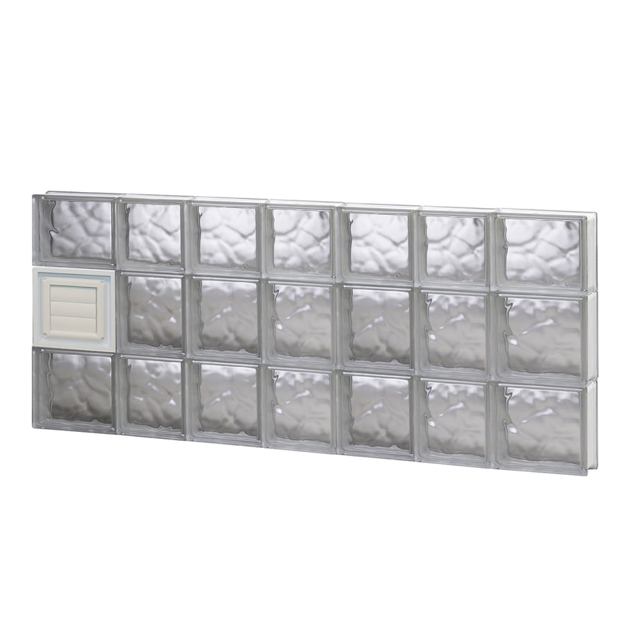 REDI2SET Wavy Glass Pattern Frameless Replacement Glass Block Window (Rough Opening: 46-in x 22-in; Actual: 44.25-in x 21.25-in)