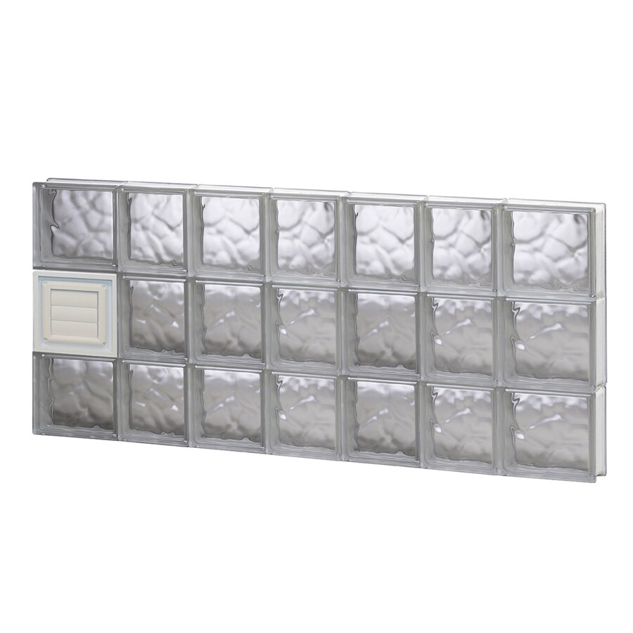REDI2SET Wavy Glass Pattern Frameless Replacement Glass Block Window (Rough Opening: 46-in x 24-in; Actual: 44.25-in x 23.25-in)