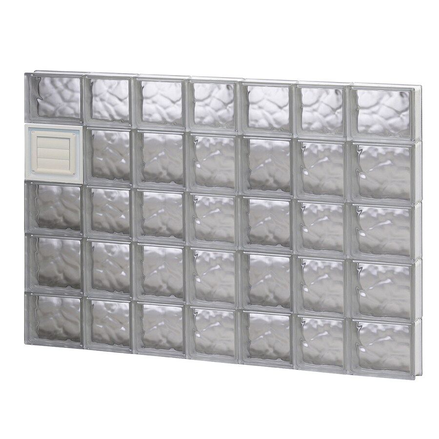 REDI2SET Wavy Glass Pattern Frameless Replacement Glass Block Window (Rough Opening: 46-in x 34-in; Actual: 44.25-in x 32.75-in)