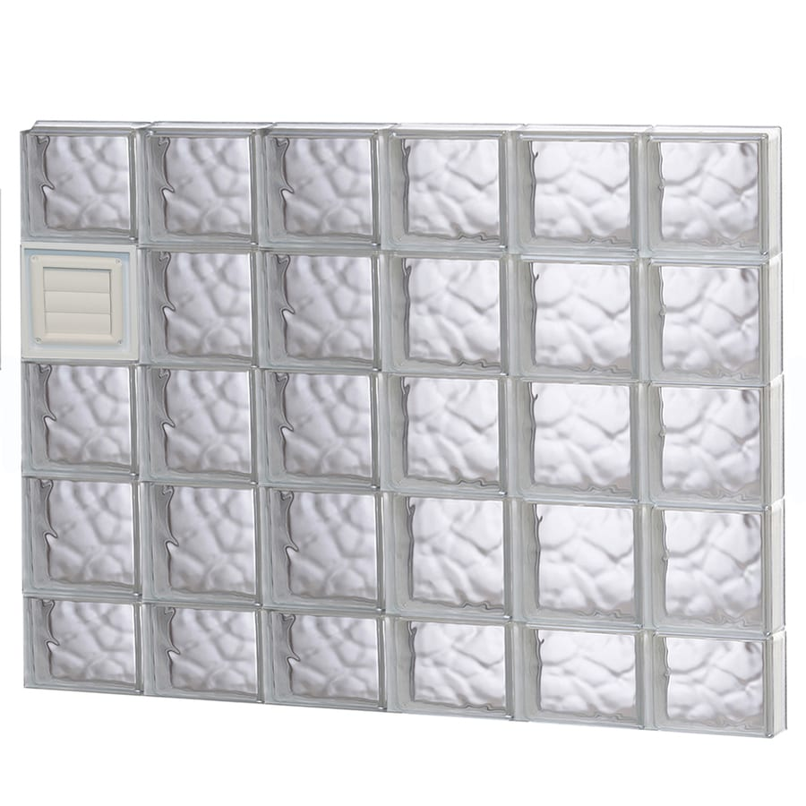 REDI2SET Wavy Glass Pattern Frameless Replacement Glass Block Window (Rough Opening: 48-in x 38-in; Actual: 46.5-in x 36.75-in)