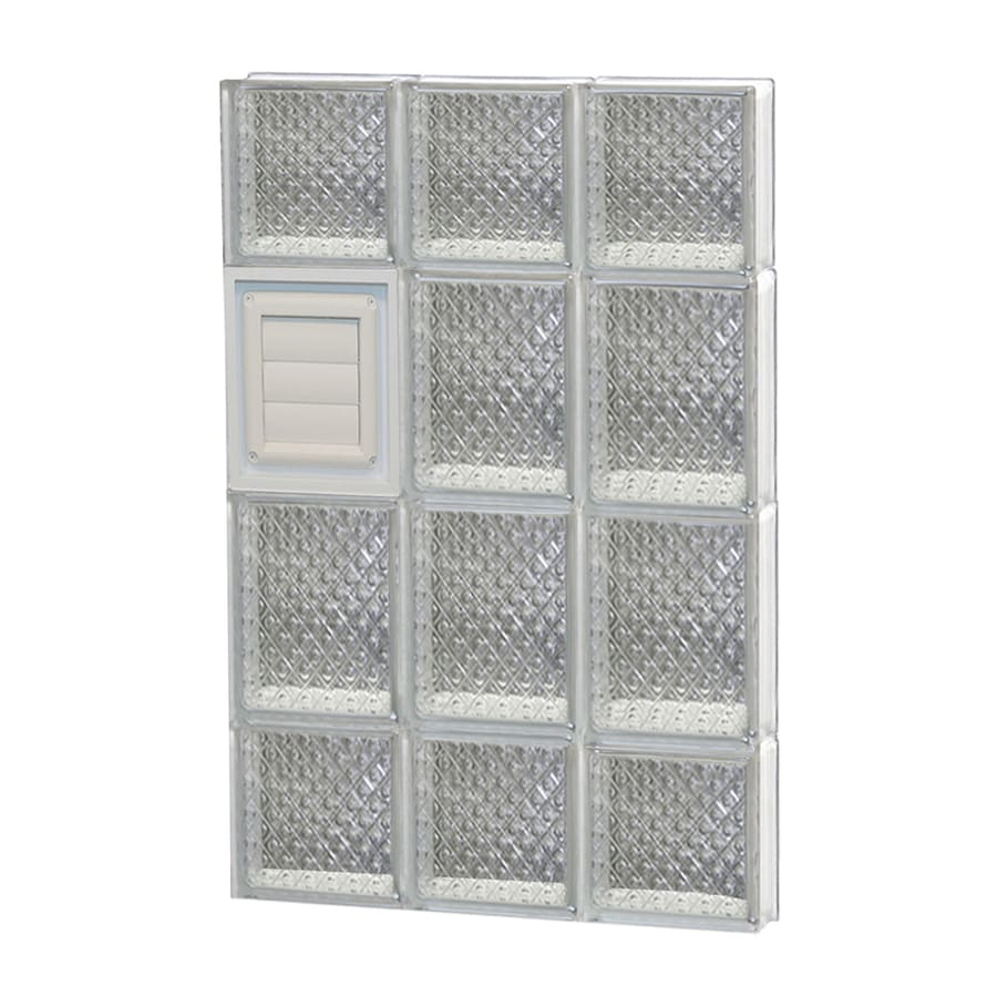 REDI2SET Diamond Glass Pattern Frameless Replacement Glass Block Window (Rough Opening: 18-in x 28-in; Actual: 17.25-in x 27-in)