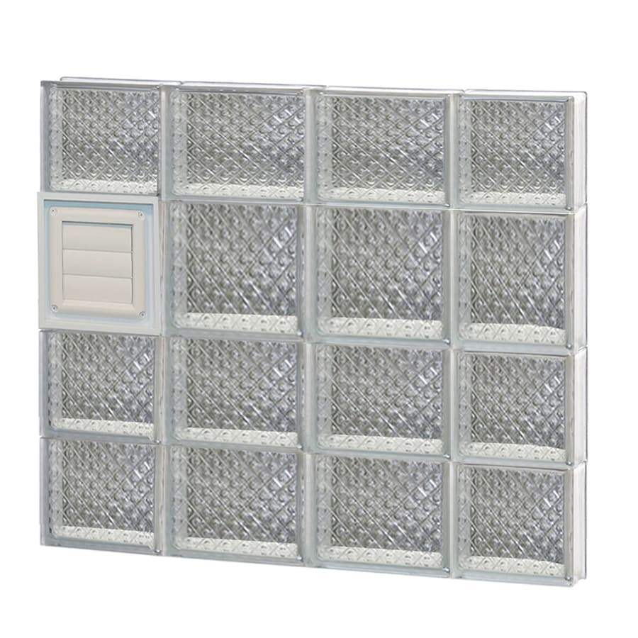 REDI2SET Diamond Glass Pattern Frameless Replacement Glass Block Window (Rough Opening: 28-in x 26-in; Actual: 27-in x 25-in)