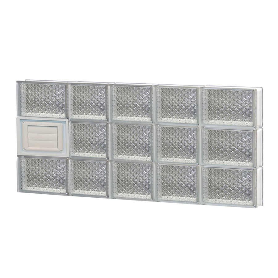 REDI2SET Diamond Glass Pattern Frameless Replacement Glass Block Window (Rough Opening: 34-in x 18-in; Actual: 32.7500-in x 17.2500-in)