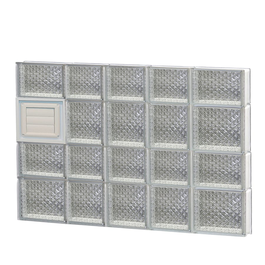 REDI2SET Diamond Glass Pattern Frameless Replacement Glass Block Window (Rough Opening: 34-in x 26-in; Actual: 32.75-in x 25-in)