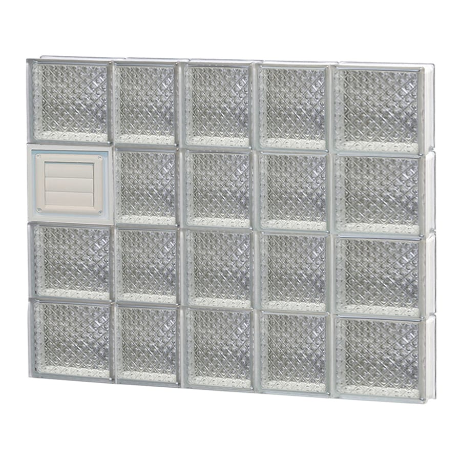 REDI2SET Diamond Glass Pattern Frameless Replacement Glass Block Window (Rough Opening: 34-in x 32-in; Actual: 32.75-in x 31-in)