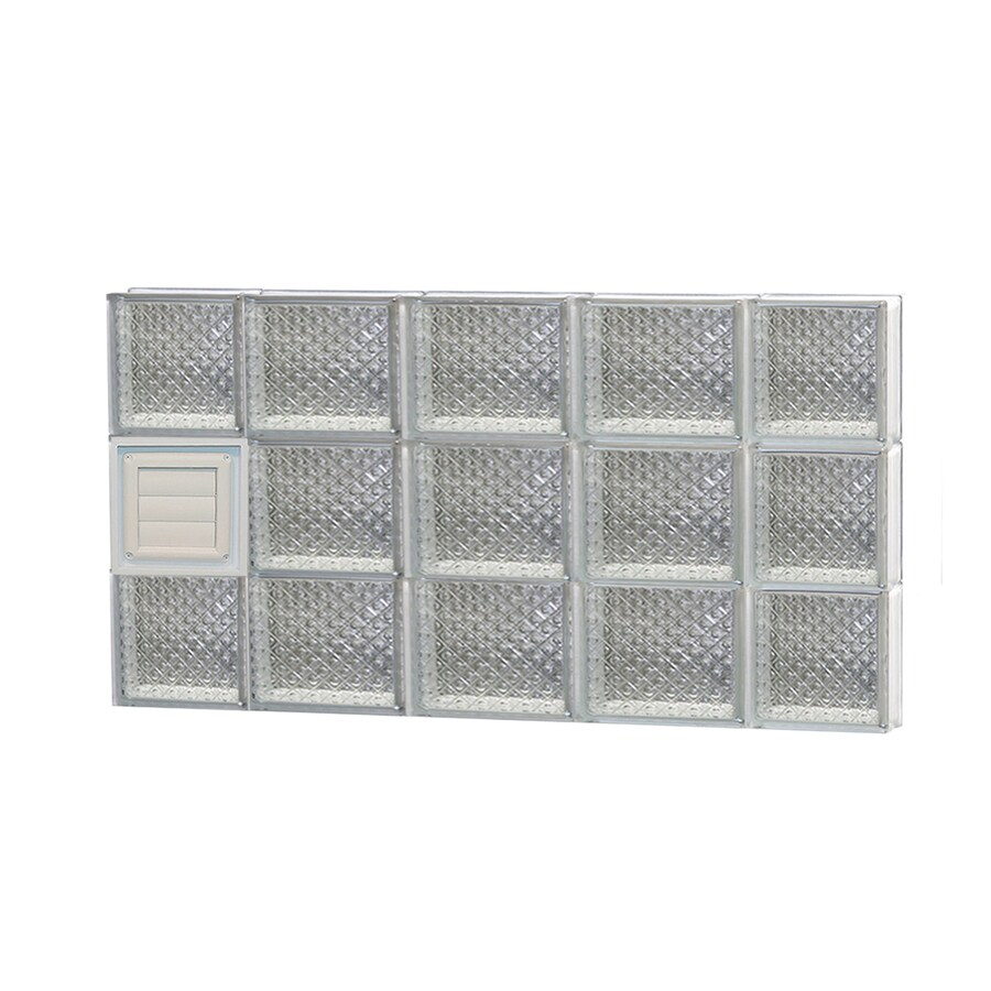 REDI2SET Diamond Glass Pattern Frameless Replacement Glass Block Window (Rough Opening: 36-in x 18-in; Actual: 34.75-in x 17.25-in)
