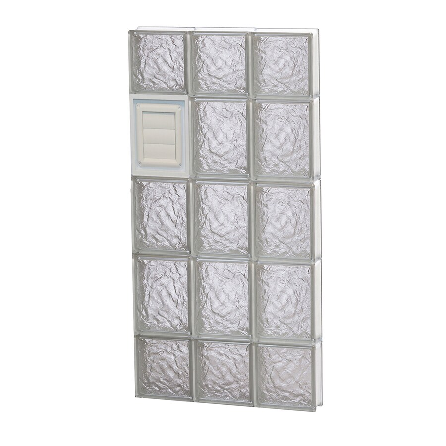 REDI2SET Ice Glass Pattern Frameless Replacement Glass Block Window (Rough Opening: 18-in x 36-in; Actual: 17.25-in x 34.75-in)