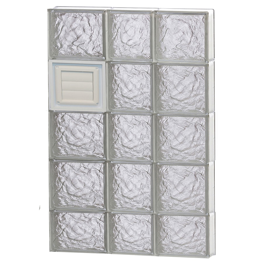 REDI2SET Ice Glass Pattern Frameless Replacement Glass Block Window (Rough Opening: 22-in x 38-in; Actual: 21.25-in x 36.75-in)