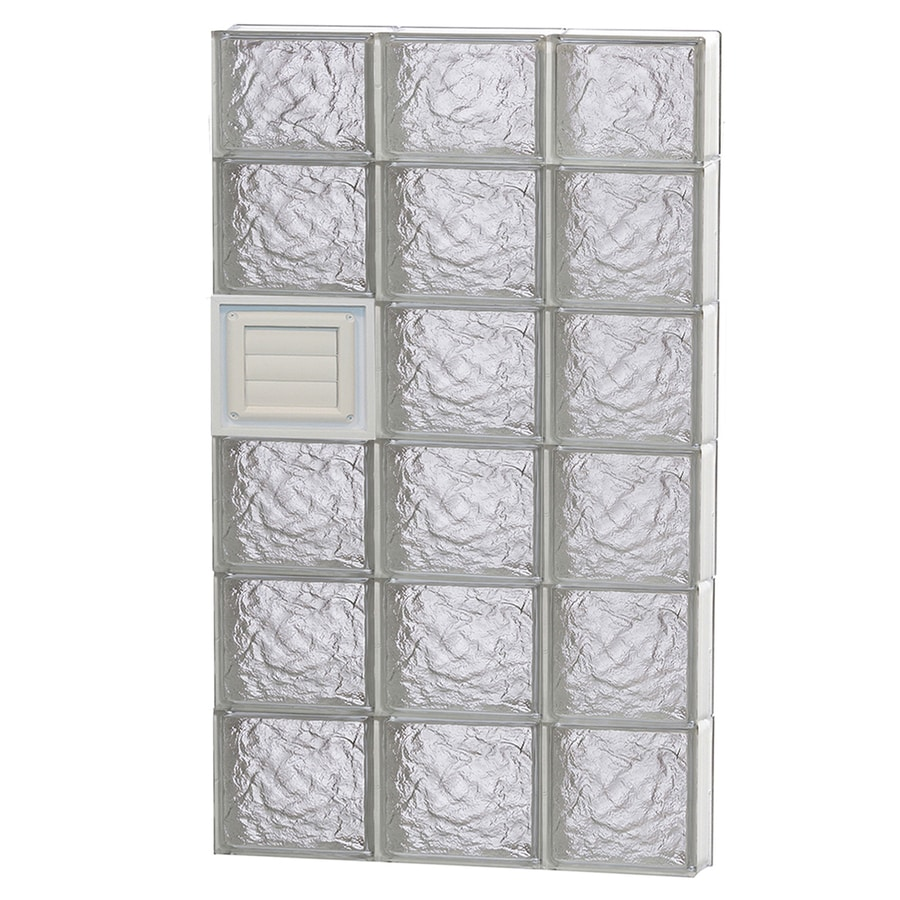 REDI2SET Ice Glass Pattern Frameless Replacement Glass Block Window (Rough Opening: 24-in x 46-in; Actual: 23.25-in x 44.5-in)