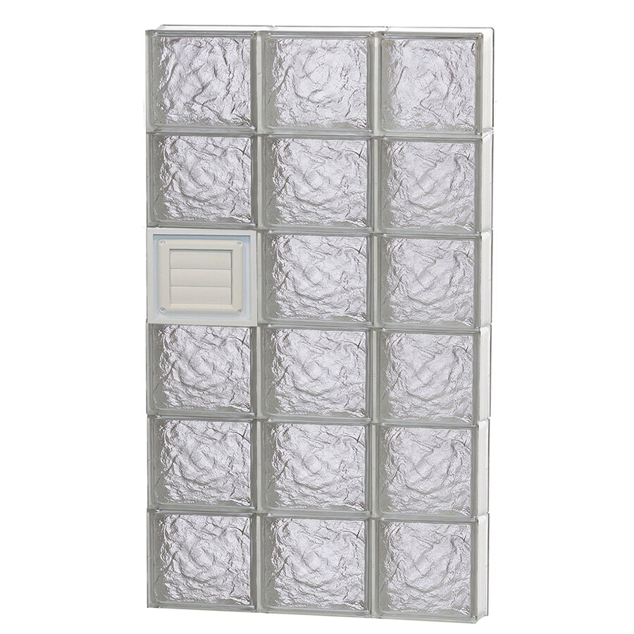 REDI2SET Ice Glass Pattern Frameless Replacement Glass Block Window (Rough Opening: 24-in x 48-in; Actual: 23.25-in x 46.5-in)