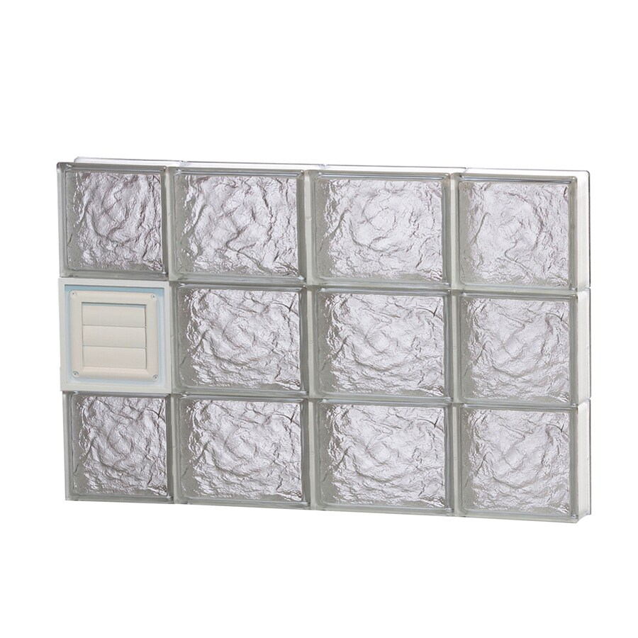 REDI2SET Ice Glass Pattern Frameless Replacement Glass Block Window (Rough Opening: 28-in x 18-in; Actual: 27-in x 17.25-in)