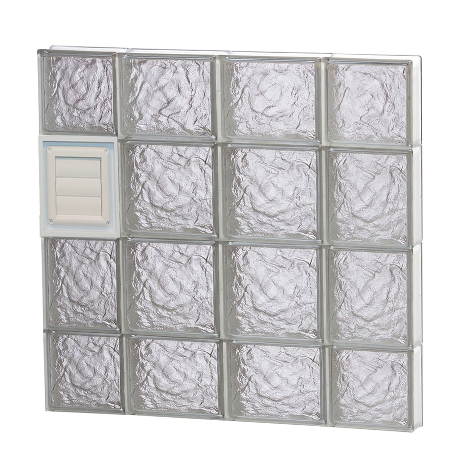 REDI2SET Ice Glass Pattern Frameless Replacement Glass Block Window (Rough Opening: 28-in x 28-in; Actual: 27-in x 27-in)