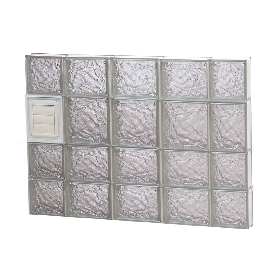 REDI2SET Ice Pattern Frameless Replacement Glass Block Window (Rough Opening: 36-in x 26-in; Actual: 34.75-in x 25-in)