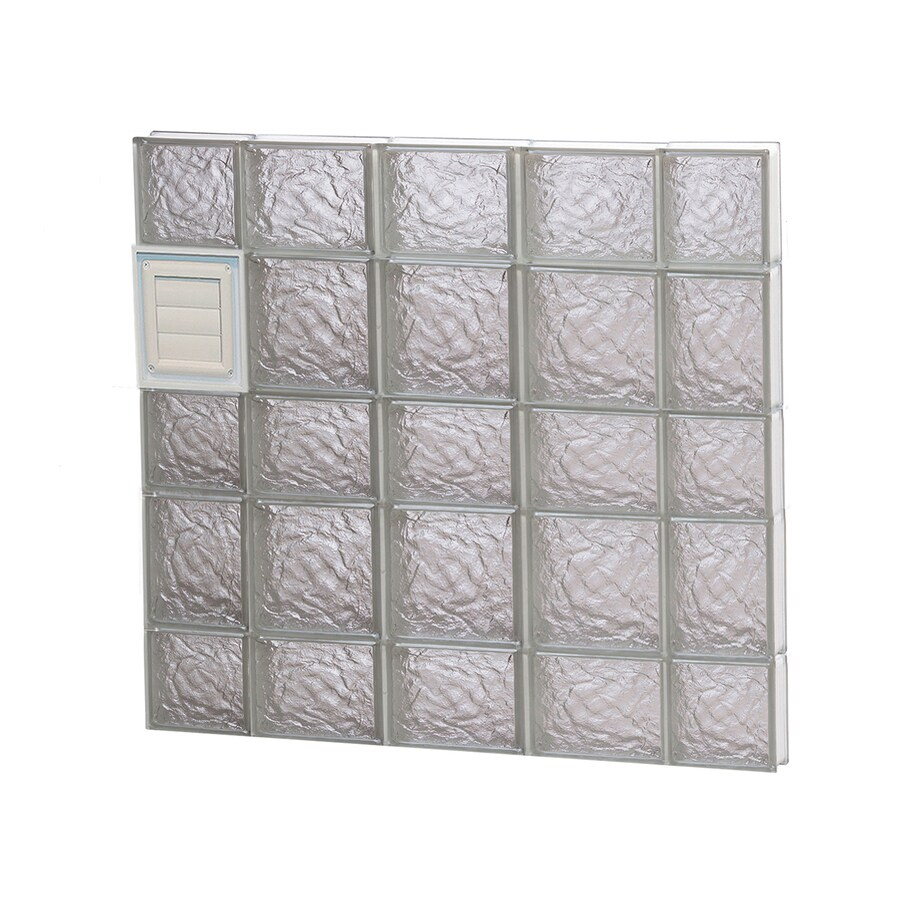 REDI2SET Ice Glass Pattern Frameless Replacement Glass Block Window (Rough Opening: 36-in x 34-in; Actual: 34.75-in x 32.75-in)