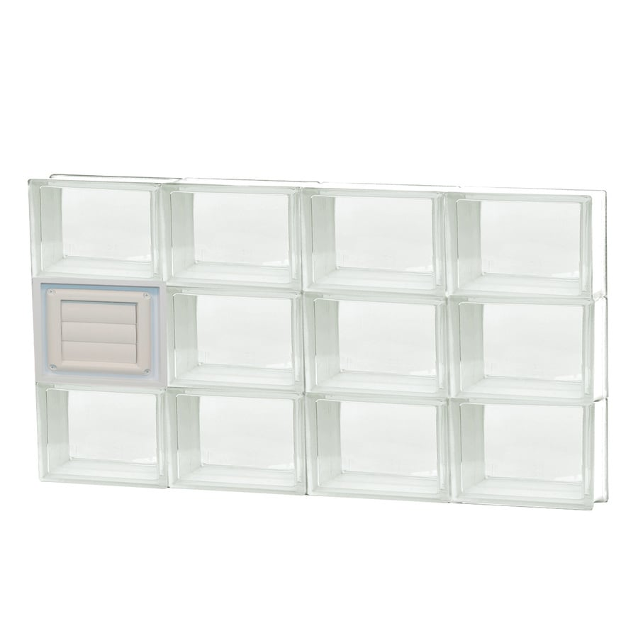 REDI2SET Clear Glass Pattern Frameless Replacement Glass Block Window (Rough Opening: 32-in x 18-in; Actual: 31-in x 17.25-in)