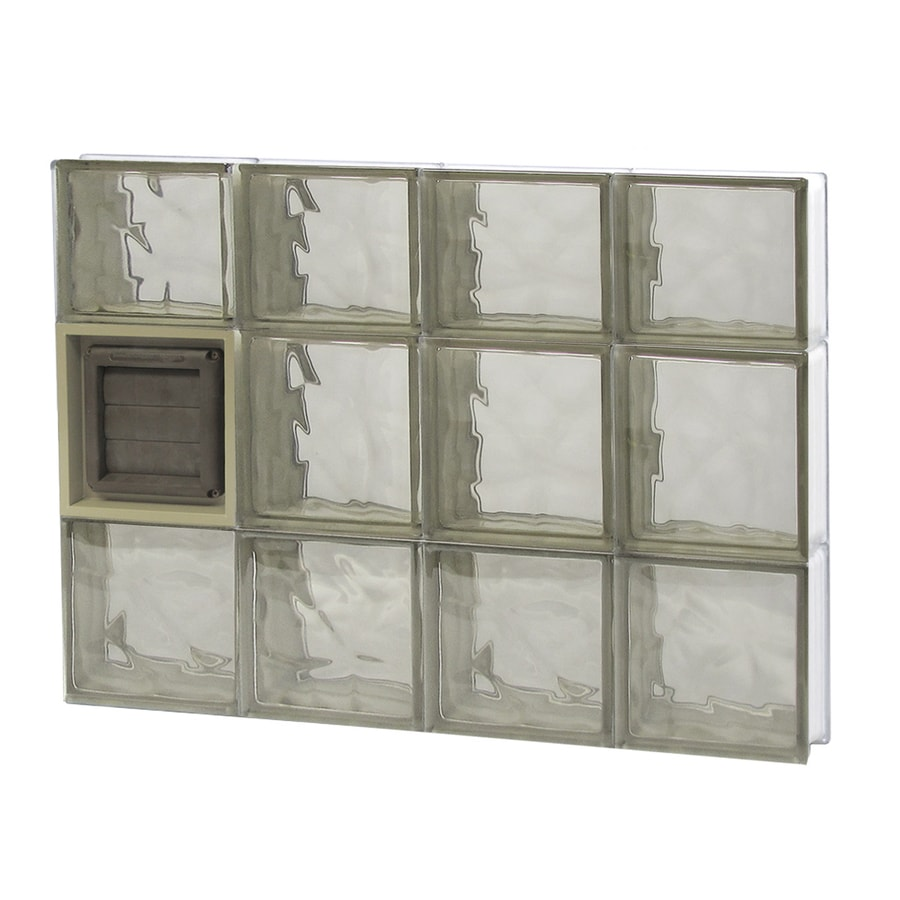 REDI2SET Wavy Bronze Glass Pattern Frameless Replacement Glass Block Window (Rough Opening: 32-in x 22-in; Actual: 31-in x 21.25-in)