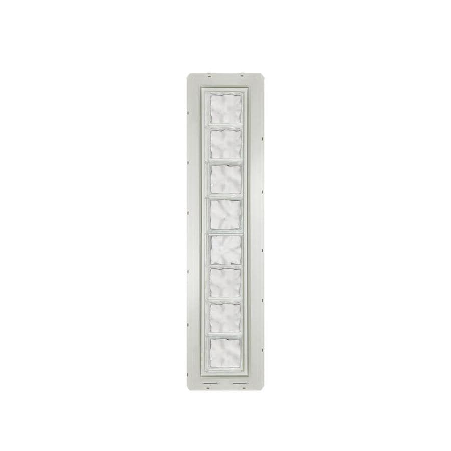 CrystaLok Wavy pattern Vinyl New Construction Glass Block Window (Rough Opening: 10-in x 64.25-in; Actual: 9.25-in x 61.75-in)
