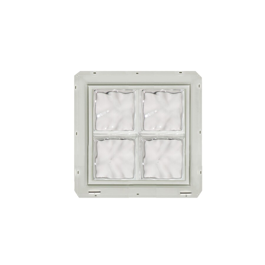 CrystaLok Wavy Pattern Vinyl New Construction Glass Block Window (Rough Opening: 17.75-in x 17.75-in; Actual: 16.75-in x 16.75-in)