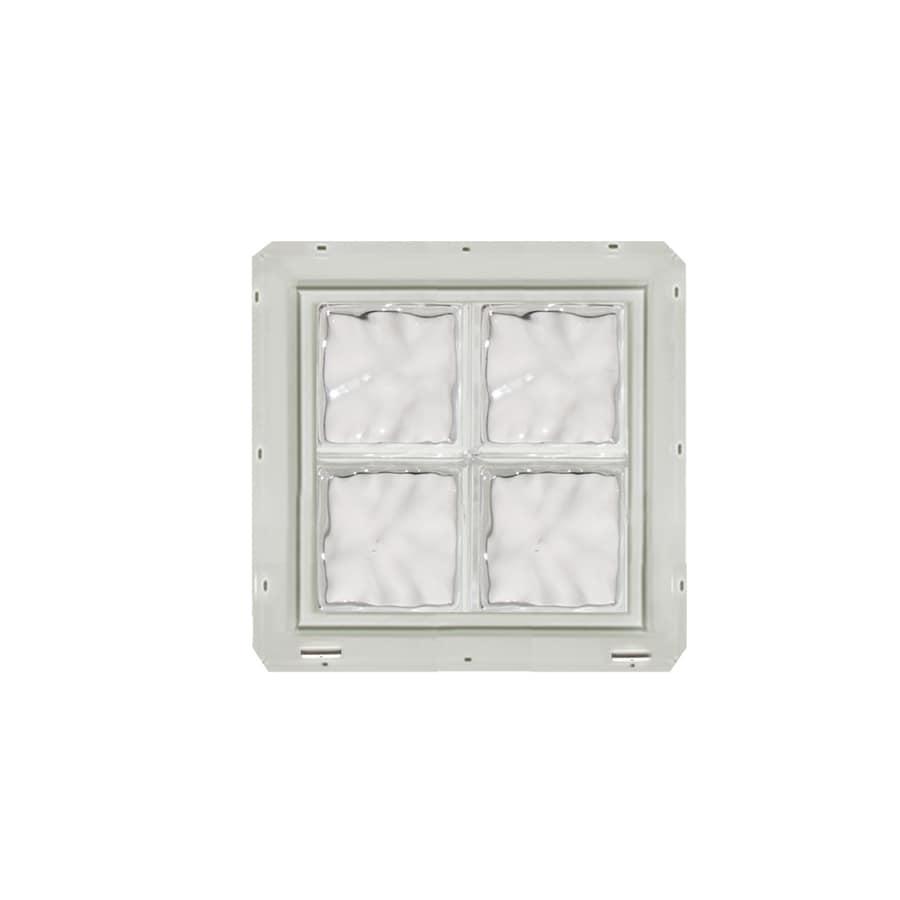 CrystaLok Wavy Pattern Vinyl Glass Block Window (Rough Opening: 17.75-in x 17.75-in; Actual: 16.75-in x 16.75-in)