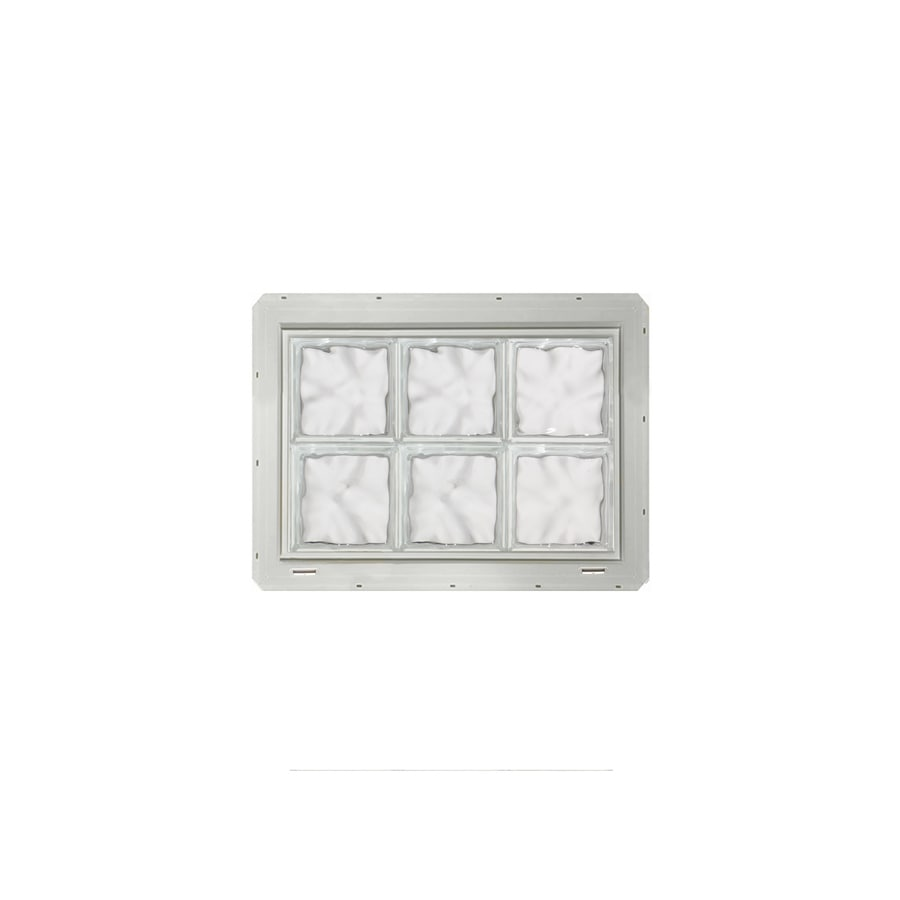 CrystaLok Wavy Pattern Vinyl New Construction Glass Block Window (Rough Opening: 25.5-in x 17.75-in; Actual: 24.25-in x 16.75-in)