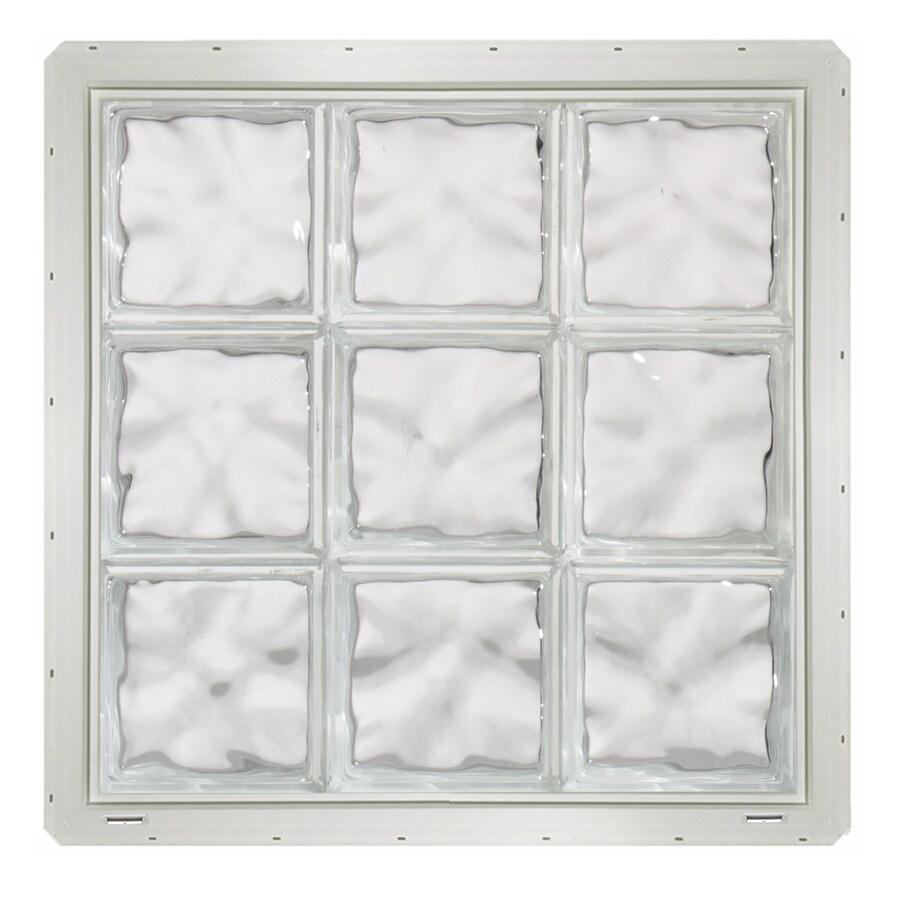 CrystaLok Wavy Pattern Vinyl Glass Block Window (Rough Opening: 25.5-in x 25.5-in; Actual: 24.25-in x 24.25-in)