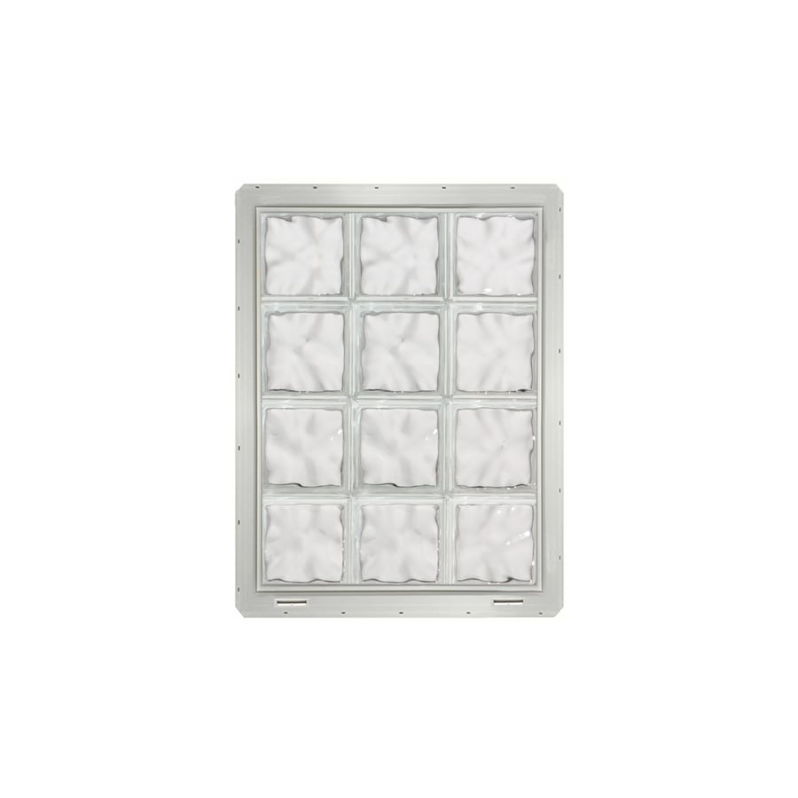 CrystaLok Wavy Pattern Vinyl New Construction Glass Block Window (Rough Opening: 25.5-in x 33.25-in; Actual: 24.25-in x 31.75-in)