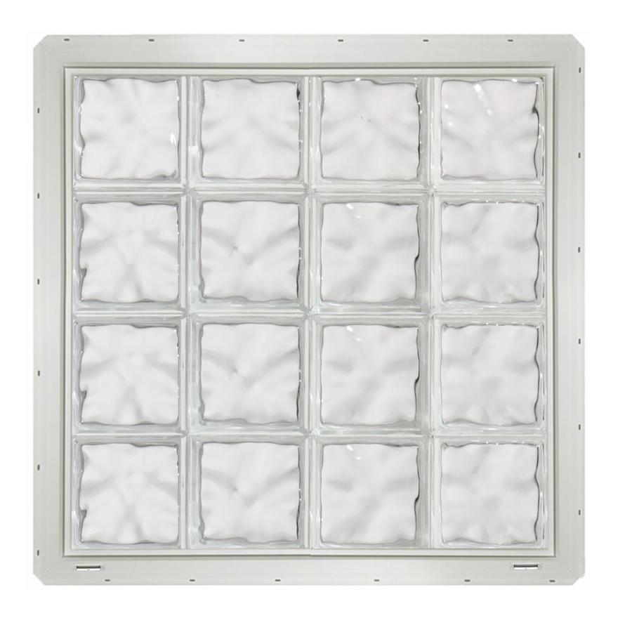 CrystaLok Wavy Pattern Vinyl New Construction Glass Block Window (Rough Opening: 33.25-in x 33.25-in; Actual: 31.75-in x 31.75-in)