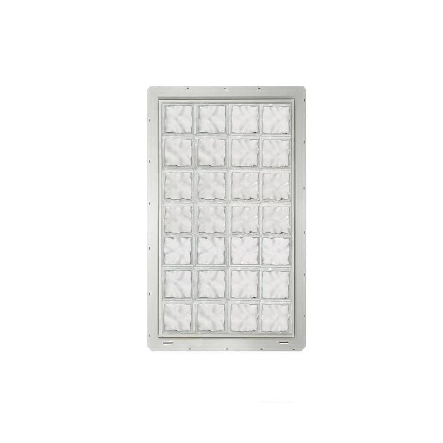 CrystaLok Wavy Pattern Vinyl New Construction Glass Block Window (Rough Opening: 33.25-in x 56.5-in; Actual: 31.75-in x 54.25-in)