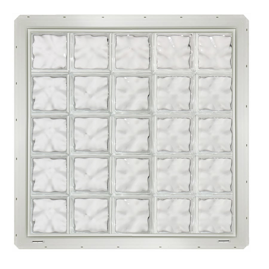 CrystaLok Wavy Pattern Vinyl Glass Block Window (Rough Opening: 41-in x 41-in; Actual: 39.25-in x 39.25-in)