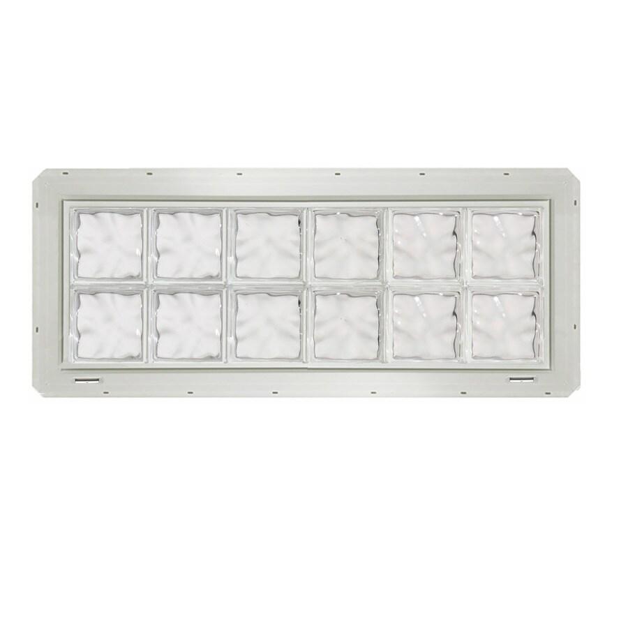 CrystaLok Wavy Pattern Vinyl Glass Block Window (Rough Opening: 48.75-in x 17.75-in; Actual: 46.75-in x 16.75-in)