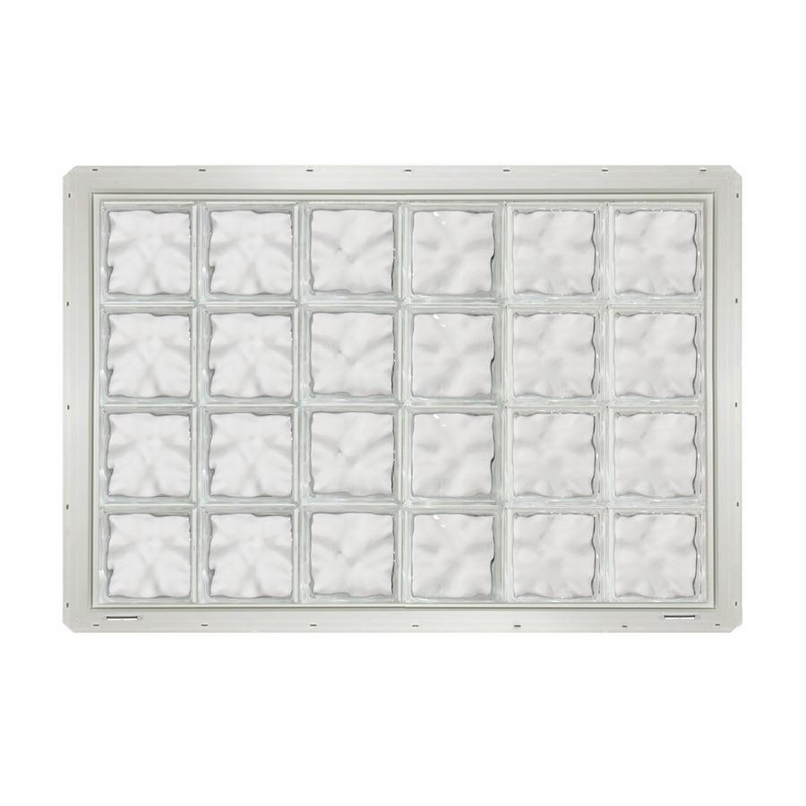 CrystaLok Wavy Pattern Vinyl Glass Block Window (Rough Opening: 48.75-in x 33.25-in; Actual: 46.75-in x 31.75-in)