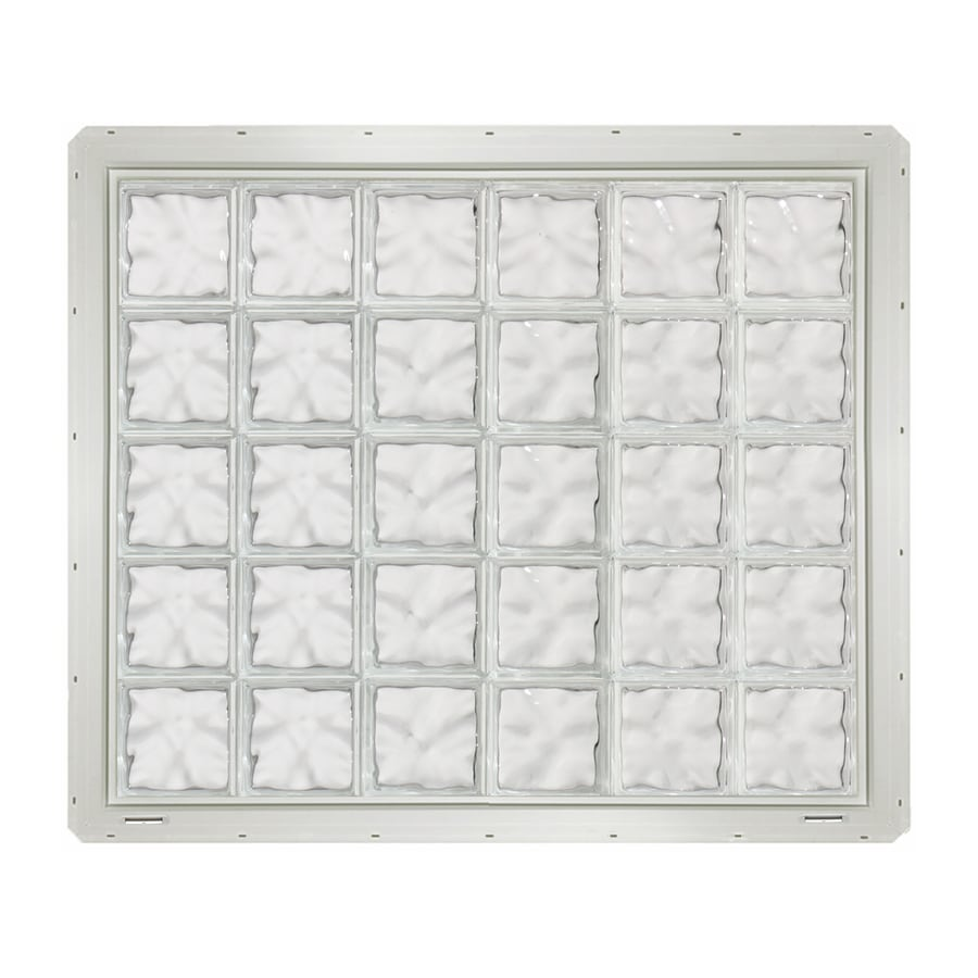 CrystaLok Wavy Pattern Vinyl Glass Block Window (Rough Opening: 48.75-in x 41-in; Actual: 46.75-in x 39.25-in)