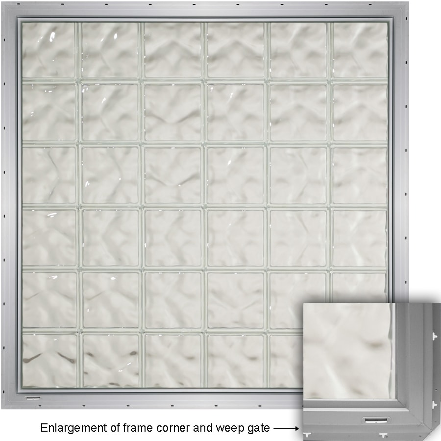 CrystaLok Wavy Pattern Vinyl Glass Block Window (Rough Opening: 56.5-in x 56.5-in; Actual: 54.25-in x 54.25-in)