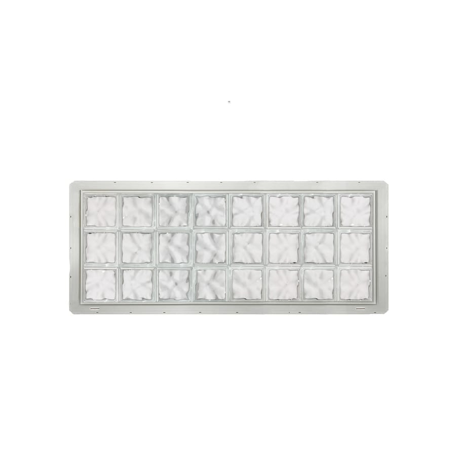 CrystaLok Wavy Pattern Vinyl New Construction Glass Block Window (Rough Opening: 64.25-in x 25.5-in; Actual: 61.75-in x 24.25-in)