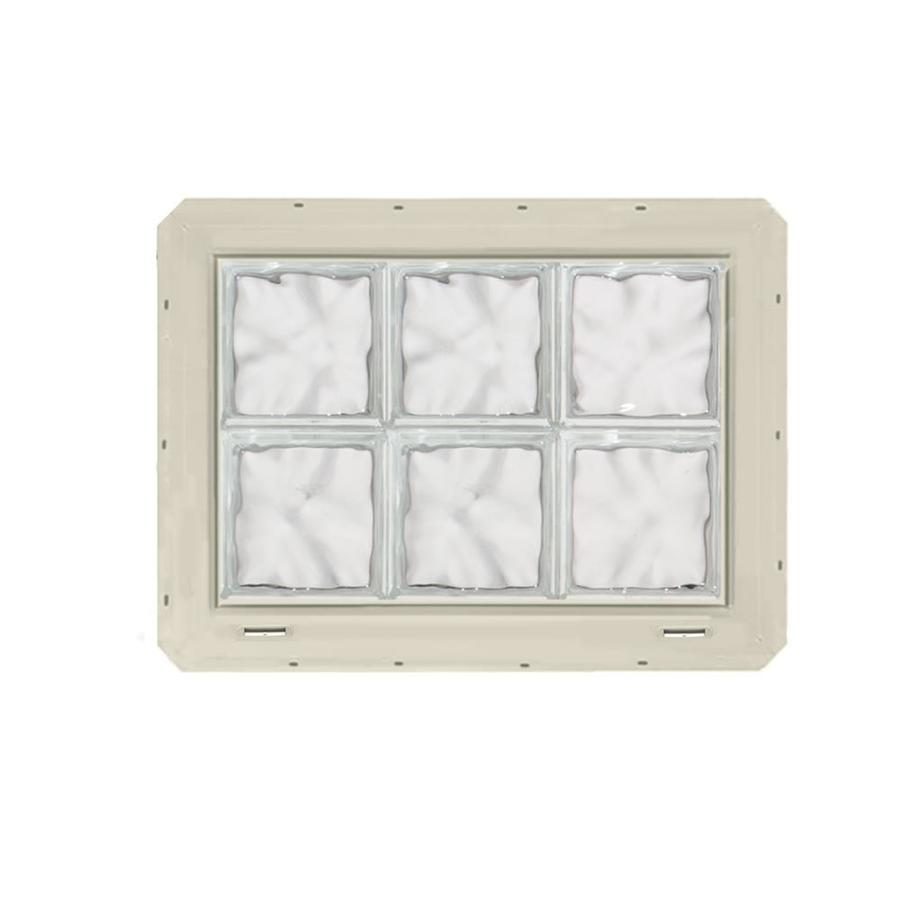 CrystaLok Wavy Pattern Vinyl Glass Block Window (Rough Opening: 25.5-in x 17.75-in; Actual: 24.25-in x 16.75-in)