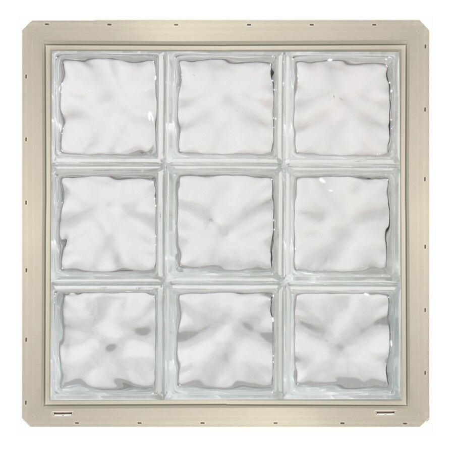 CrystaLok Wavy Pattern Vinyl Glass Block Window (Rough Opening: 25.5-in x 25.5-in; Actual: 24.25-in x 24.25-in)
