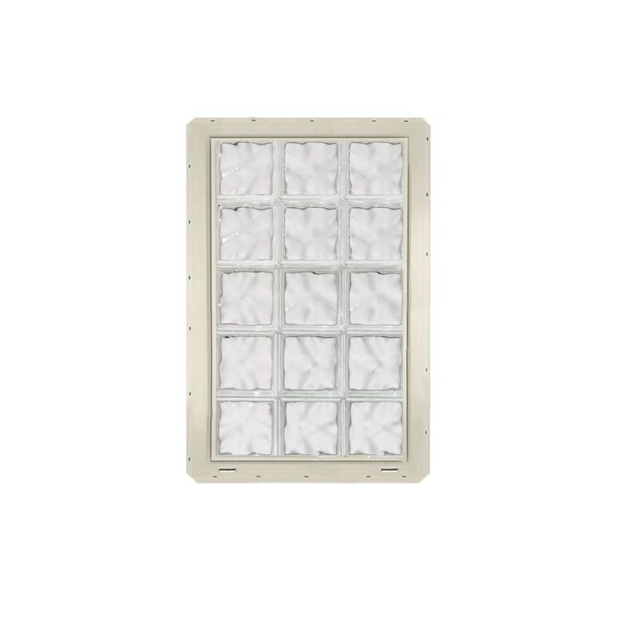 CrystaLok Wavy Pattern Vinyl New Construction Glass Block Window (Rough Opening: 25.5-in x 41-in; Actual: 24.25-in x 39.25-in)