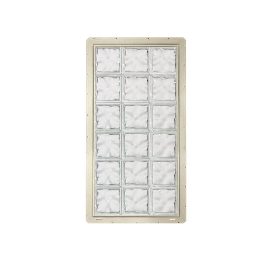 CrystaLok Wavy Pattern Vinyl New Construction Glass Block Window (Rough Opening: 25.5-in x 48.75-in; Actual: 24.25-in x 46.75-in)