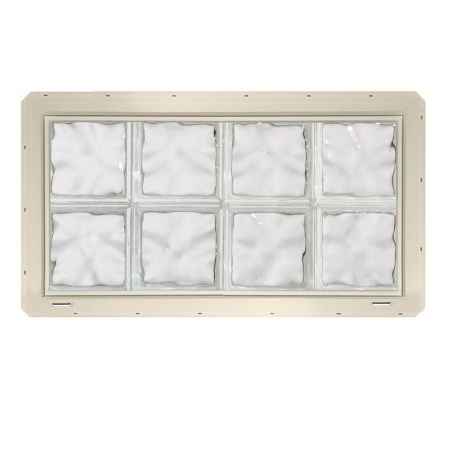 CrystaLok Wavy Pattern Vinyl Glass Block Window (Rough Opening: 33.25-in x 17.75-in; Actual: 31.75-in x 16.75-in)