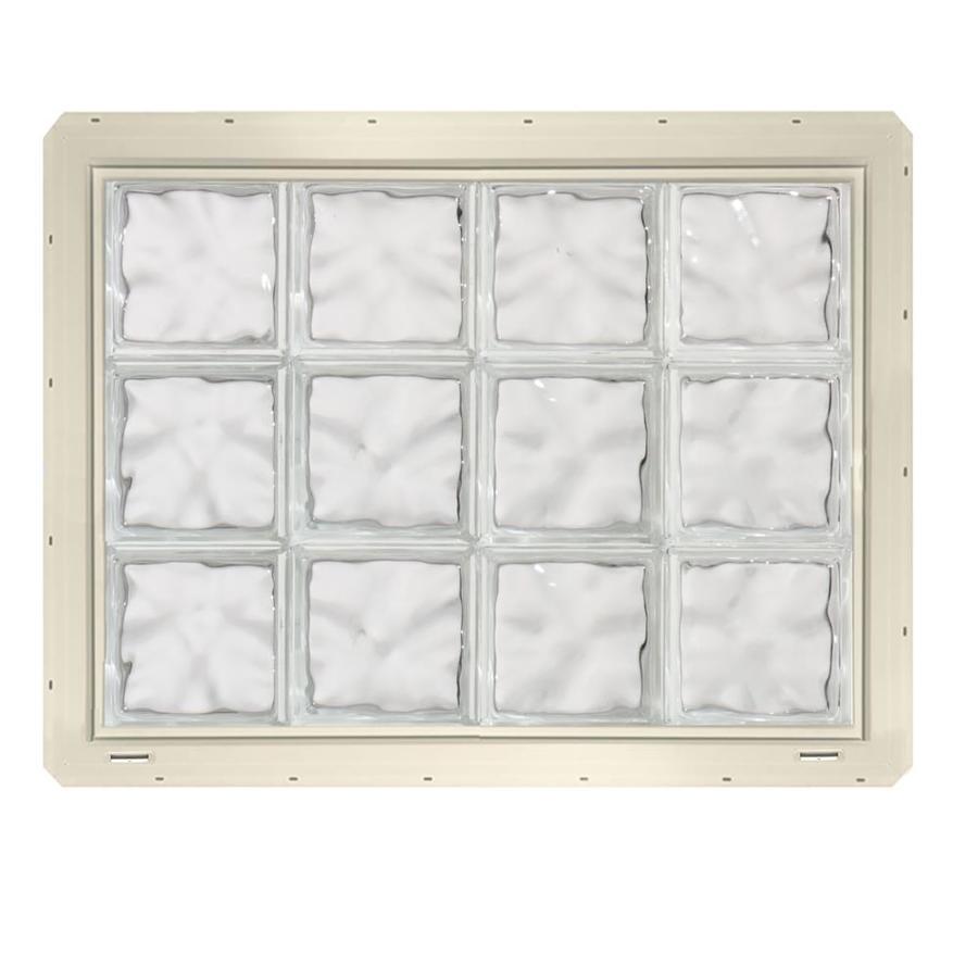 CrystaLok Wavy Pattern Vinyl Glass Block Window (Rough Opening: 33.25-in x 25.5-in; Actual: 31.75-in x 24.25-in)