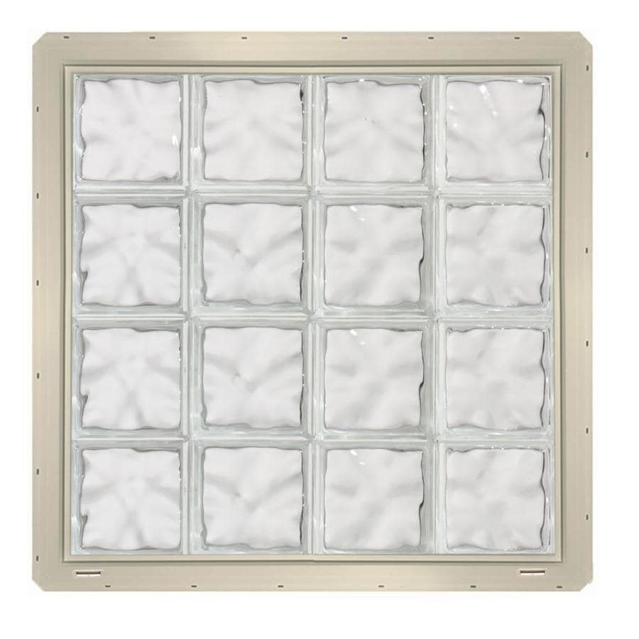 CrystaLok Wavy Pattern Vinyl Glass Block Window (Rough Opening: 33.25-in x 33.25-in; Actual: 31.75-in x 31.75-in)