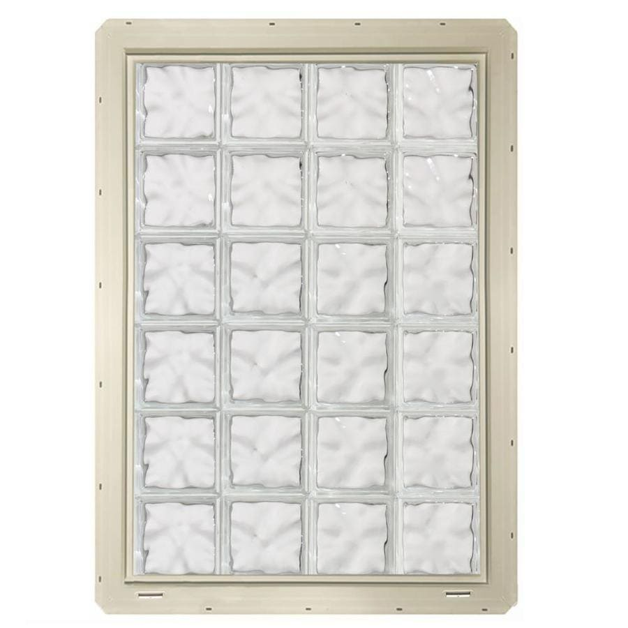 CrystaLok Wavy Pattern Vinyl Glass Block Window (Rough Opening: 33.25-in x 48.75-in; Actual: 31.75-in x 46.75-in)