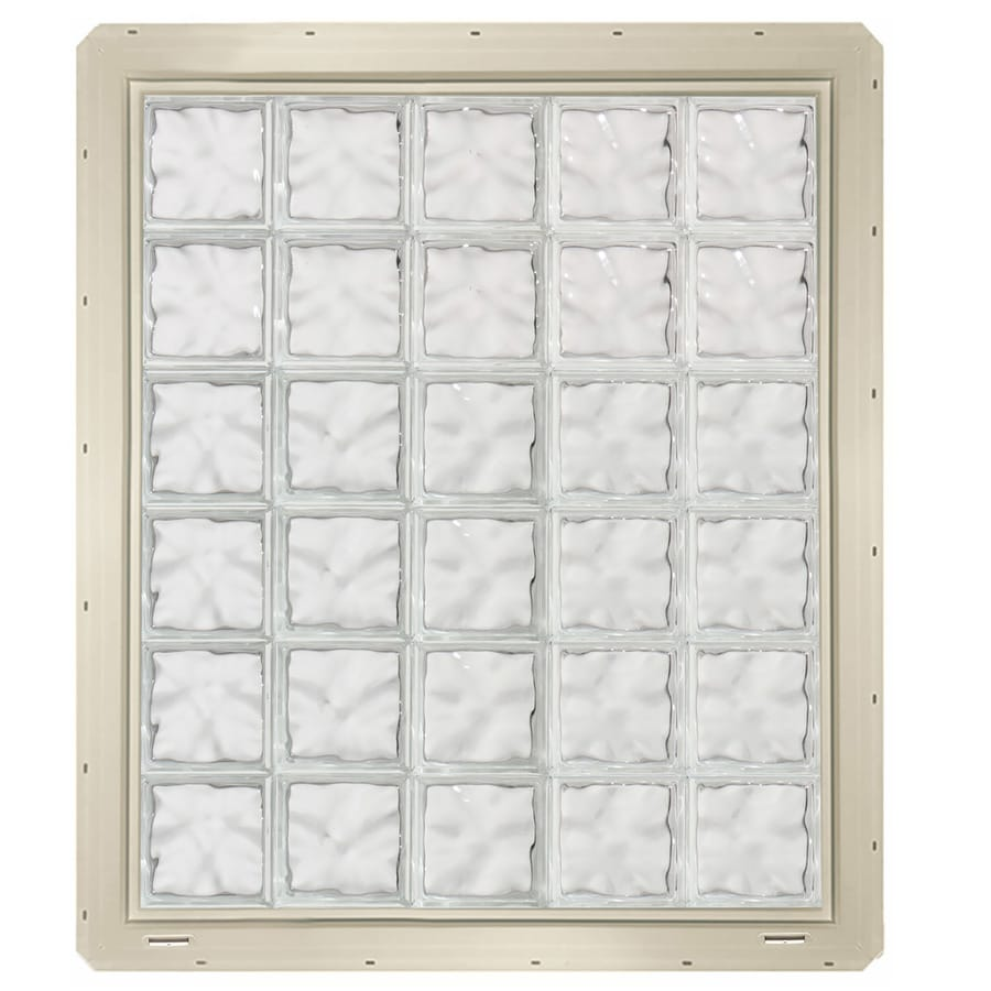 CrystaLok Wavy Pattern Vinyl Glass Block Window (Rough Opening: 41-in x 48.75-in; Actual: 39.25-in x 46.75-in)