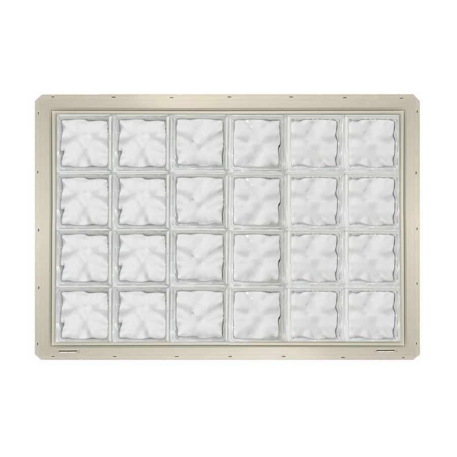 CrystaLok Wavy Pattern Vinyl New Construction Glass Block Window (Rough Opening: 48.75-in x 33.25-in; Actual: 46.75-in x 31.75-in)