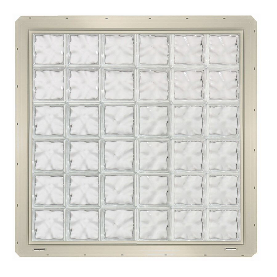 CrystaLok Wavy Pattern Vinyl Glass Block Window (Rough Opening: 48.75-in x 48.75-in; Actual: 46.75-in x 46.75-in)