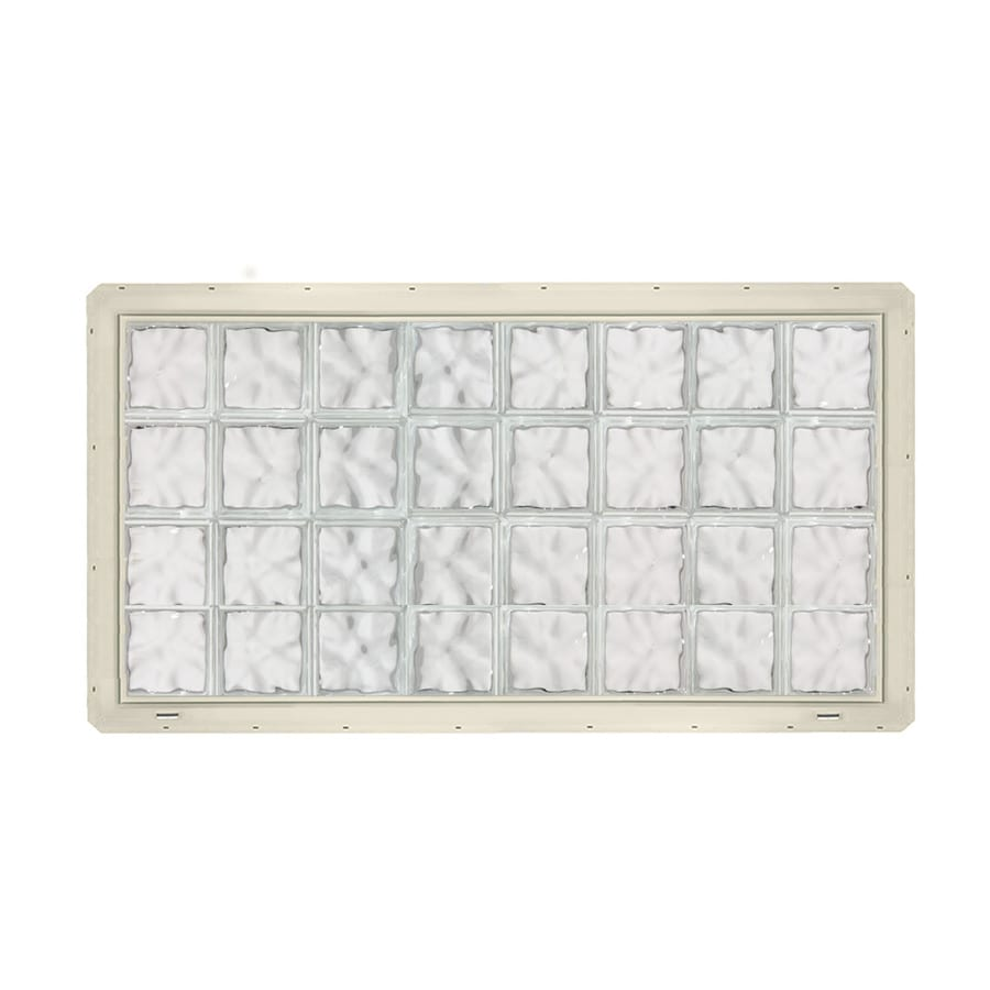 CrystaLok Wavy Pattern Vinyl New Construction Glass Block Window (Rough Opening: 64.25-in x 33.25-in; Actual: 61.75-in x 31.75-in)
