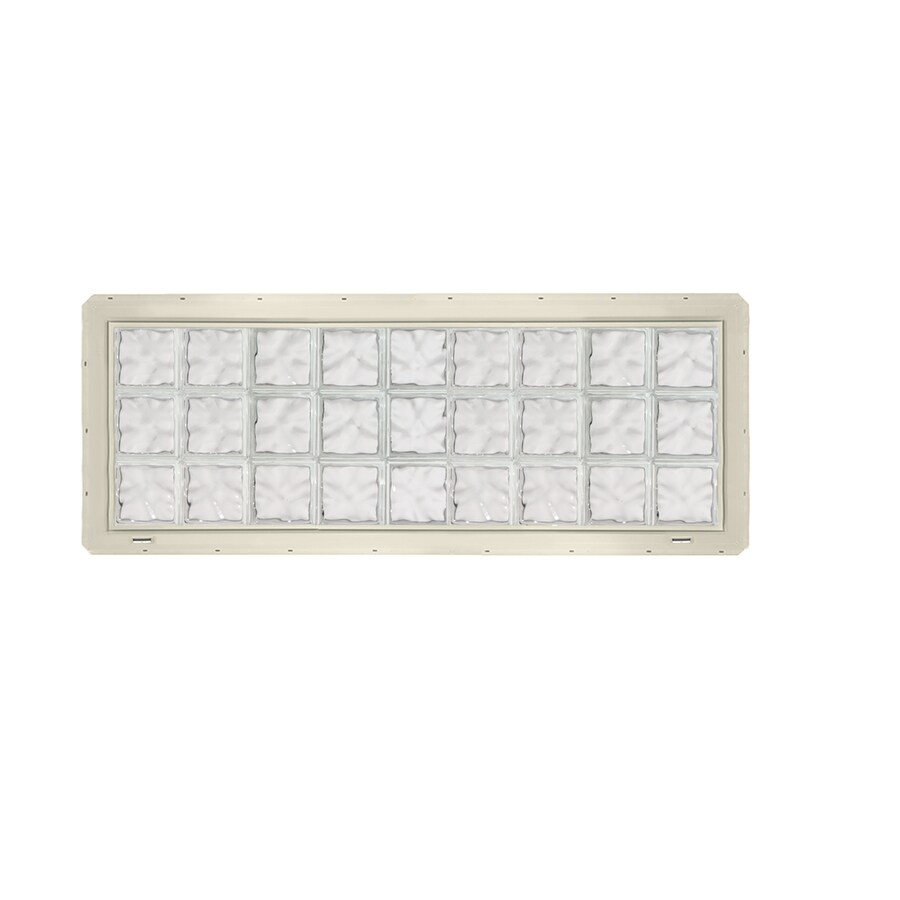 CrystaLok Wavy Pattern Vinyl New Construction Glass Block Window (Rough Opening: 72-in x 25.5-in; Actual: 69.25-in x 24.25-in)
